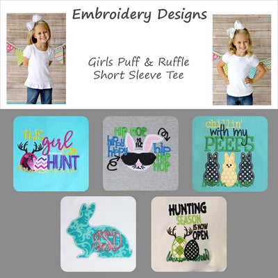 Embroidered Easter Designs - Girls Short Sleeve Tee