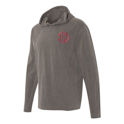 Embroidered Monogram Adult Long Sleeve Hooded Tee