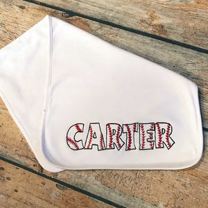 Burp Cloth with Embroidered Baseball Name