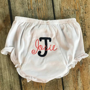 Embroidered Name Ruffle Bloomers