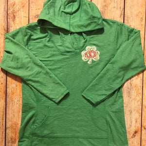 Embroidered Shamrock French Terry Women's Hoodie