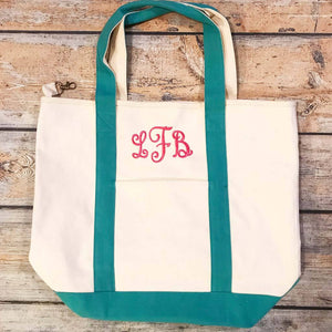 Monogrammed Striped Canvas Totes
