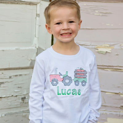 Embroidered Tractor With Pumpkin Personalized Tee