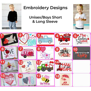 Boys/Unisex Valentine's Day Embroidered Design Shirts