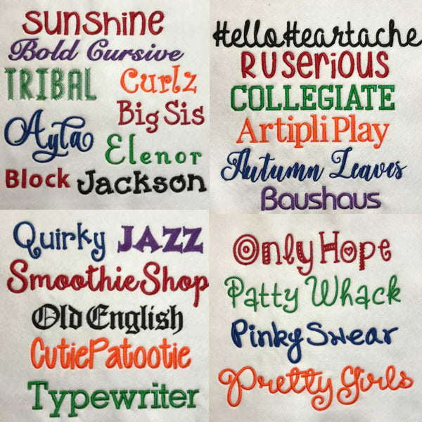 Embroidery Font Chart