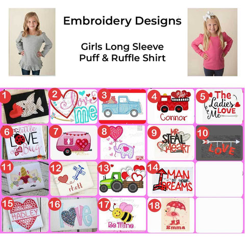 Girls Long Sleeve Valentine's Day Embroidered Design Shirts