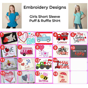 Girls Short Sleeve Valentine's Day Embroidered Design Shirts