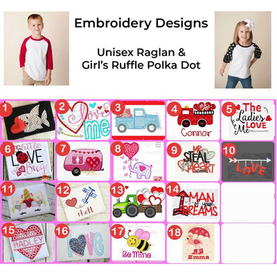 Raglan Valentine's Day Embroidered Design Shirts