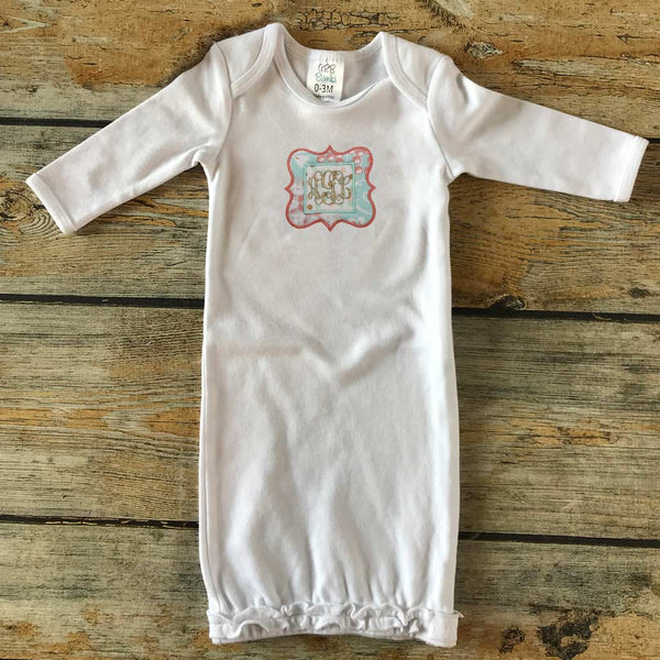 Applique with Embroidered Name/Monogram Infant Gown