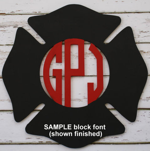 Wood Firefighter Maltese Cross with Monogram (finished)