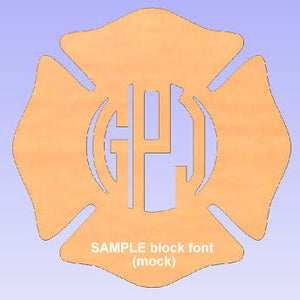 Wood Firefighter Maltese Cross with Monogram (unfinished)