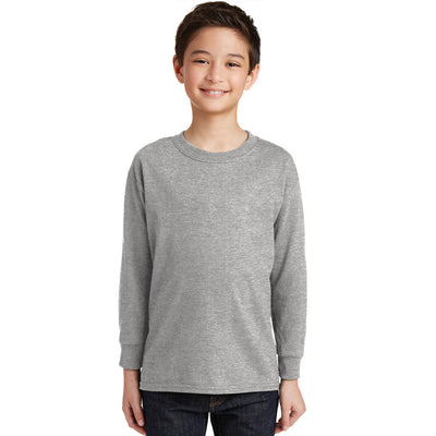 Personalized Youth Long Sleeve Tee - Sport Grey
