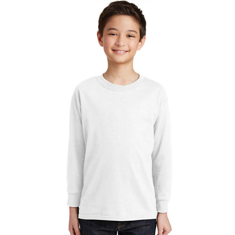 Personalized Youth Long Sleeve Tee - White