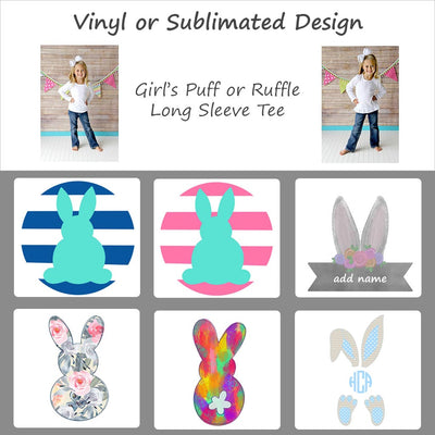 Easter Bunny Designs - Girl's Long Sleeve Tee