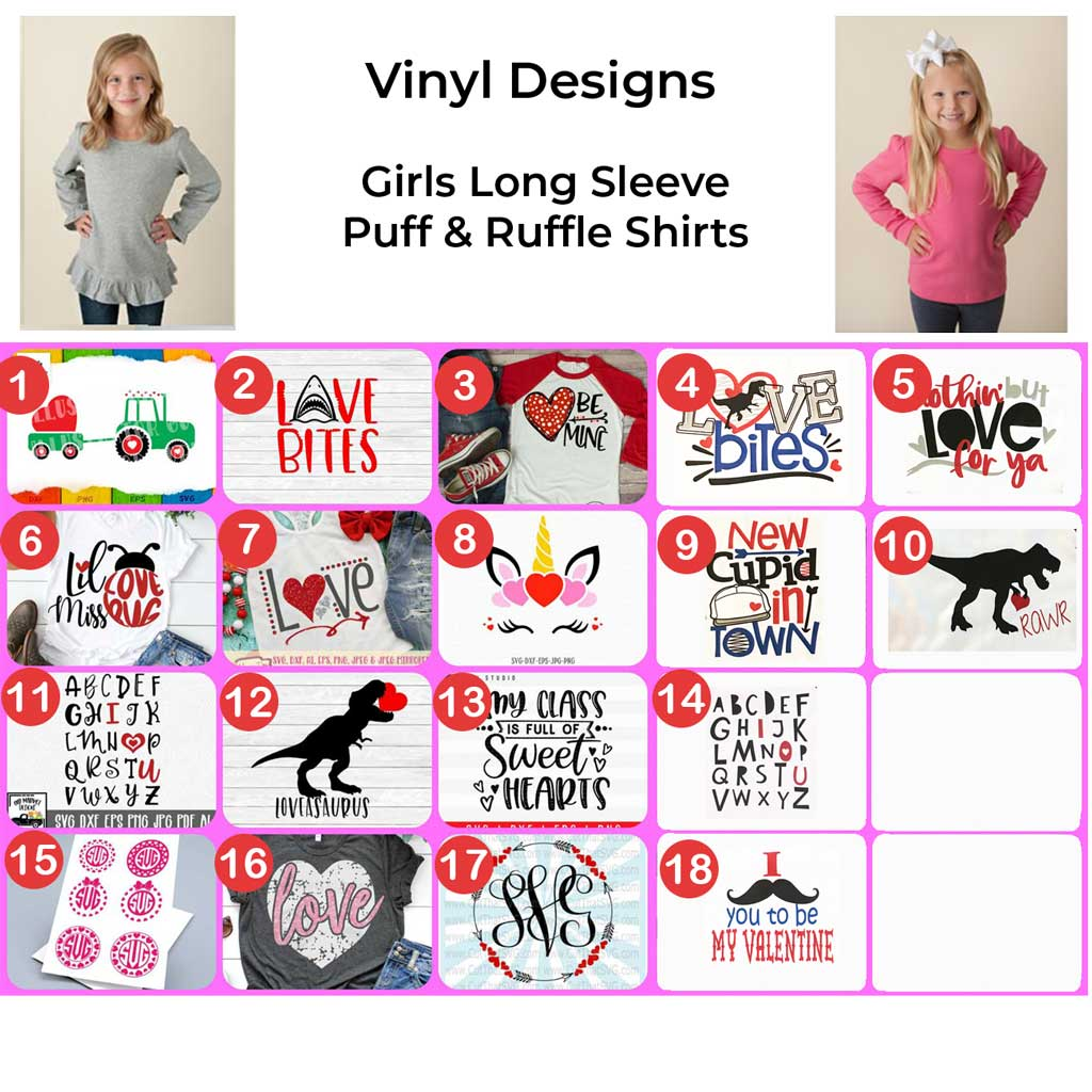 Girls Long Sleeve Valentine's Day Vinyl Design Shirts