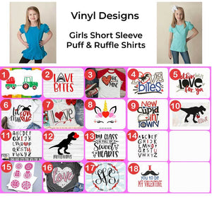 Girls Short Sleeve Valentine's Day Vinyl Design Shirts