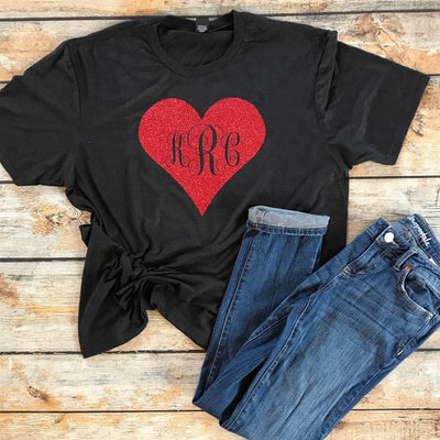 Monogram Heart Valentine's Day Vinyl Design Shirt
