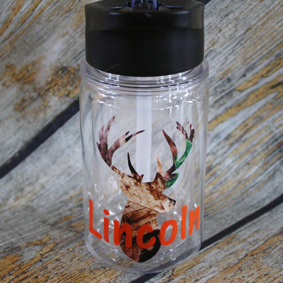 Traditional Camo Deer Kids Water Bottle