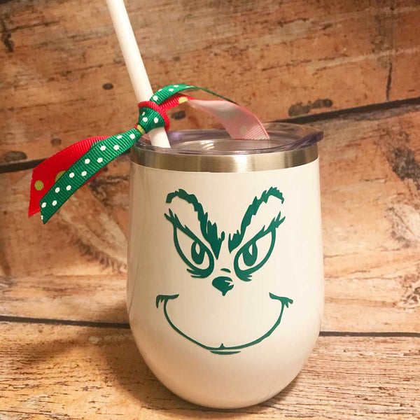 Grinch Face Wine Tumbler