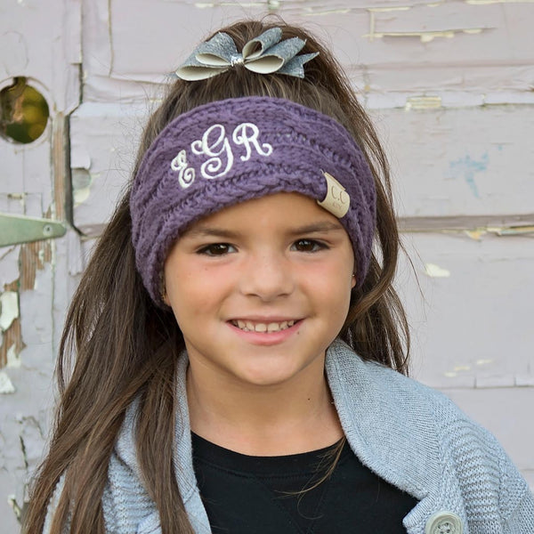 Embroidered Kids Head Wrap with Monogram
