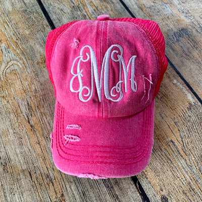 Monogrammed High Pony Hat