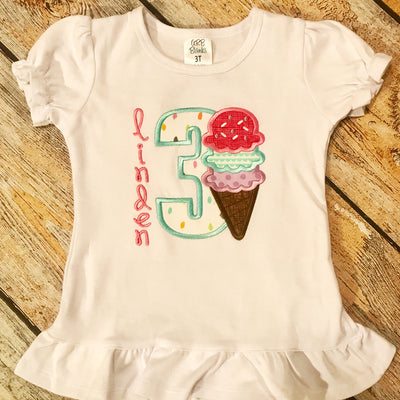Embroidered Ice Cream Birthday Tee