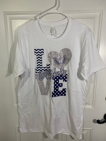 Clearance Bella canvas white short sleeve tee size L with Battlehawks Love design