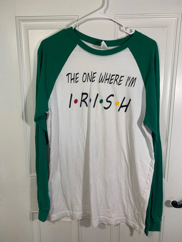 Clearance Bella canvas St Pats green raglan sleeve tee size L