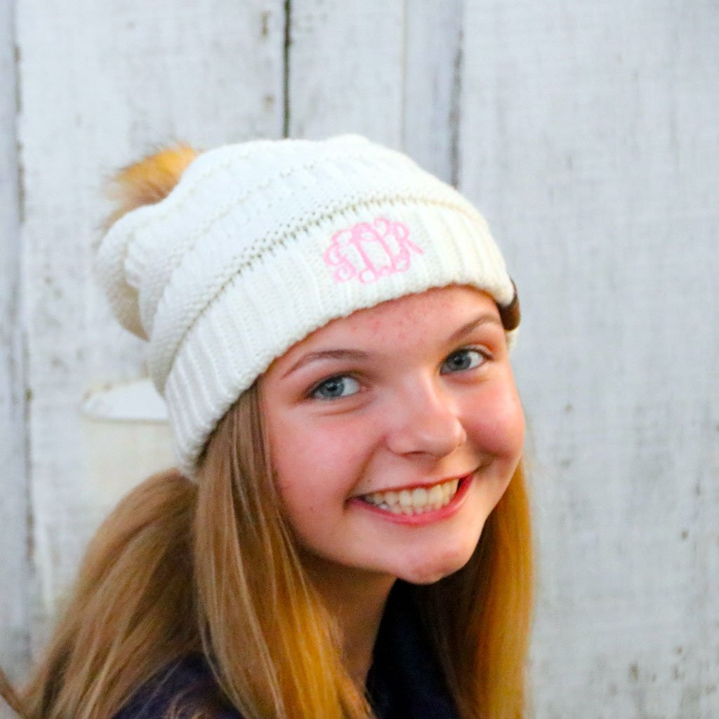 Embroidered Monogram Fur Pom Beanie