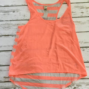 Personalized Girls Racerback Tank - Orange & White Stripes