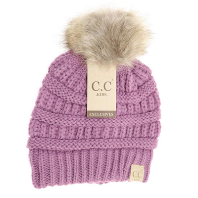 Embroidered Kids Fur Pom Beanie