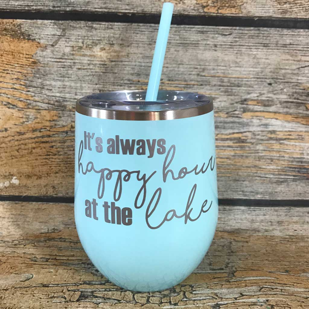 It's Always Happy Hour at the Lake Wine Tumbler