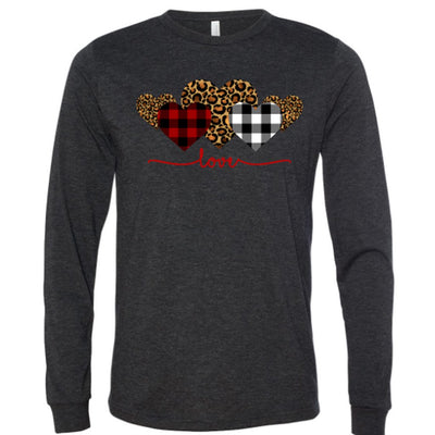 Leopard Print/Buffalo Plaid Heart & Love Vinyl Design Shirt