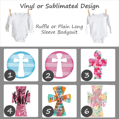 Easter Cross Designs - Long Sleeve Baby Bodysuit