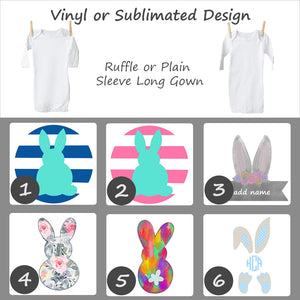 Easter Bunny Designs - Long Sleeve Baby Gown