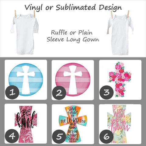 Easter Cross Designs - Long Sleeve Baby Gown