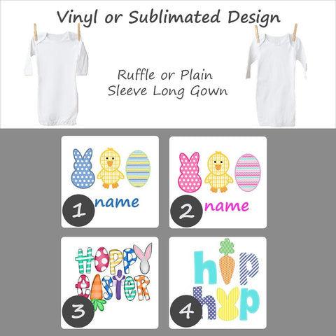 Easter Designs - Long Sleeve Baby Gown