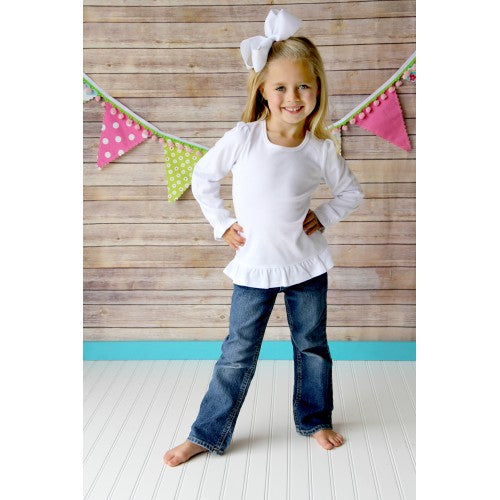 Girls Long Sleeve Ruffle Valentine's Day Embroidered Design Shirts