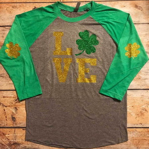 Love With Shamrocks Vinyl Design Shirt