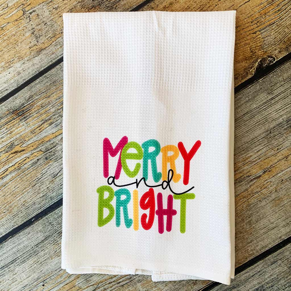 Sublimated Merry and Bright Hand Towel