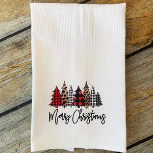 Sublimated Leopard & Plaid Merry Christmas Hand Towel