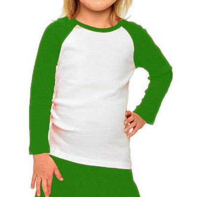 Personalized Toddler & Youth Raglan Tee - White & Green
