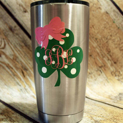St. Pat's Clover Monogram with Bow Stainless Tumbler
