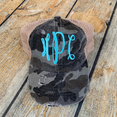 Monogrammed Criss-Cross Ponytail Hat
