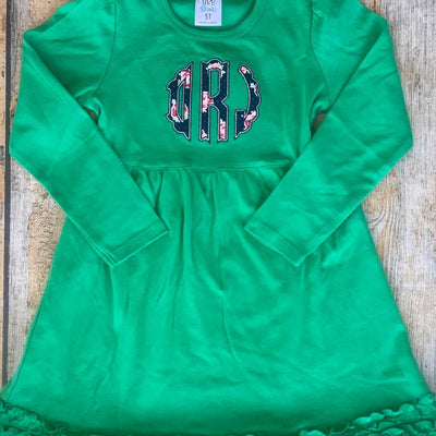 Applique Monogram Dress in Green
