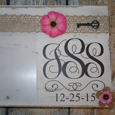 Monogram Wood Frame Pink Bow
