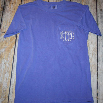 Embroidered Monogram Adult Pocket Tee