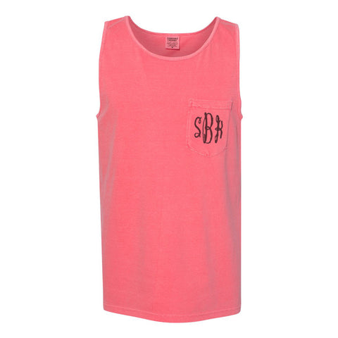 Embroidered Monogram Adult Pocket Tank