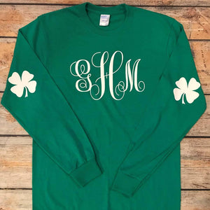 Monogram With Arm Shamrocks Vinyl Design Shirt