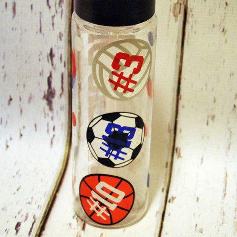 Multi-Sport Water Bottle With Numbers on Balls